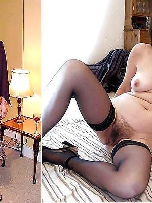 mature milf dressed undressed posing nude