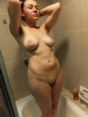 colored hair mature wife shower
